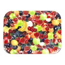 37x27.5 Rectangular Tray With All Over Fruit Design -  37x275 rectangular tray all over fruit design serving dining tableware