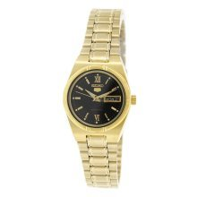 Seiko SYM614K1 5 Gold Tone Automatic Black Dial Ladies Watch