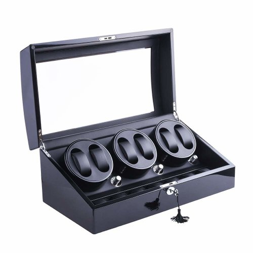 XTELARY Luxury Automatic Rotate Watch Winder 6+7 Leather Storage (Wood shell + Leather Pillow + Piano Paint + Tempered Glass)