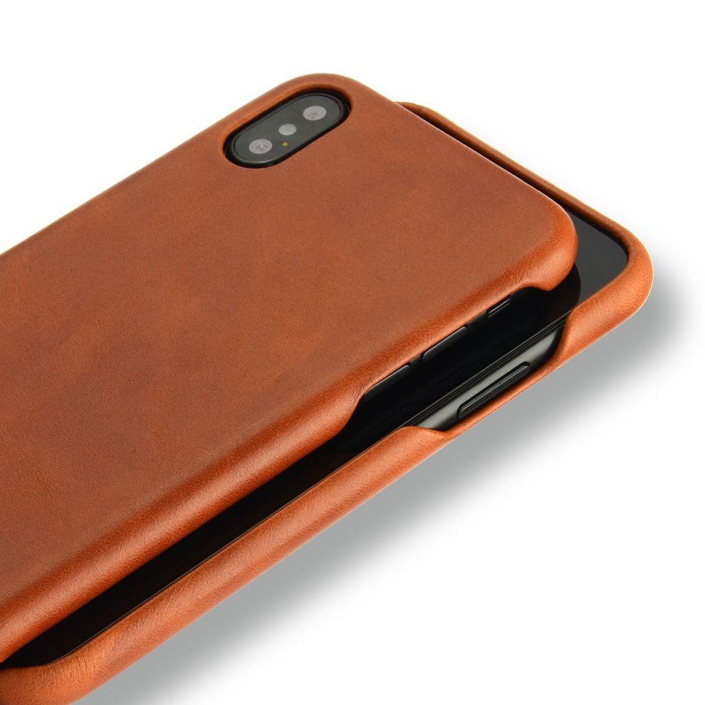 quality design 37ad6 a6c33 NOVADA Leather iPhone X Case Genuine Leather Back Cover - Tan
