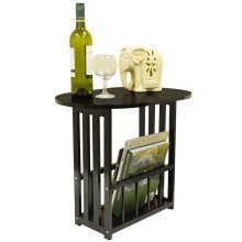 HAUGHTON - Swivel Top Side / End Table with Storage Rack - Dark Oak