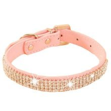 Rhinestone Pet Collars - Dog Leashes - Pet Supplies --Rhinestone Pink