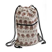 Cotton casual sling backpack with elephant design in rich brown …