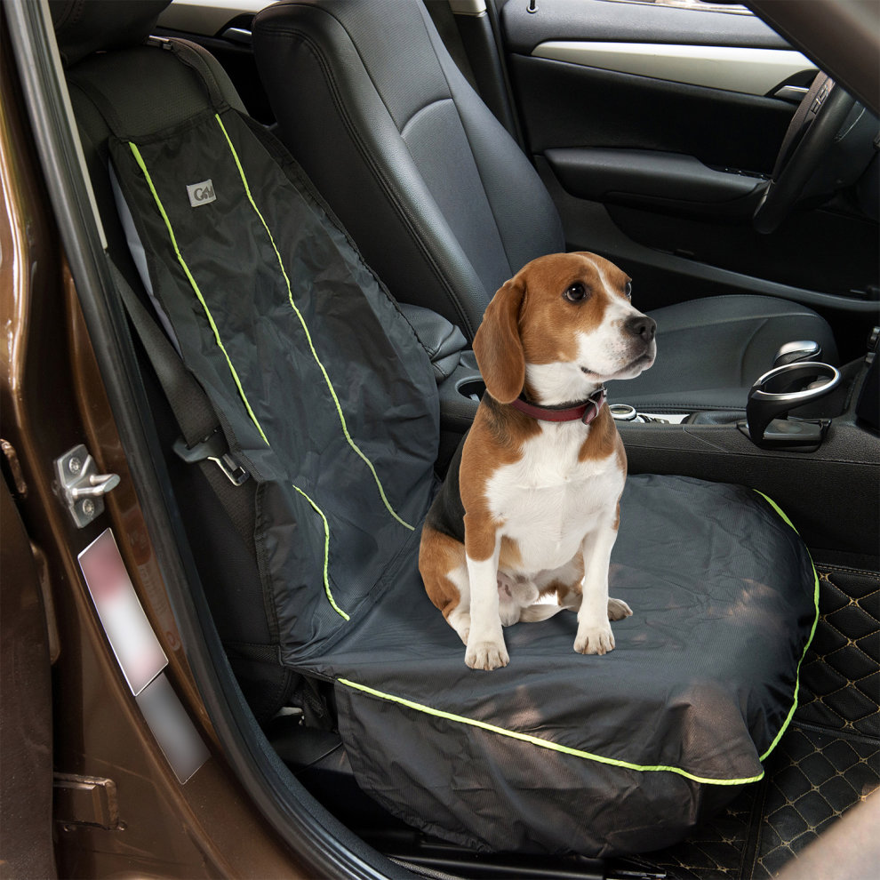 PawHut 600D Oxford Pet Front Seat Cover Suv Car Truck Hammock Dog Buckle Anchor Black