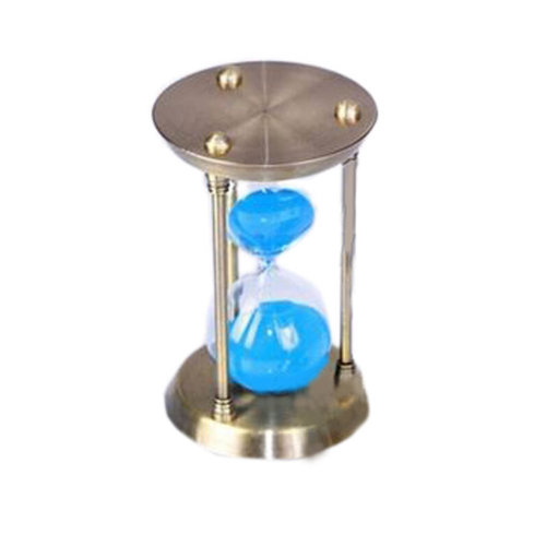 Simple Metal Sand Timer Hourglass Sandglass Creative Ornament Gifts, 15 Minutes + Golden Blue