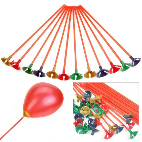 Trixes 100 x Plastic Party Balloon Holder Sticks & Cups