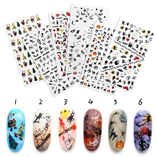QIMYAR Halloween Nail Art Stickers 3D Christmas Tattoo Decals Selfadhesive Tip Xmas Designs 6 Sheets