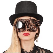 Carnival Toys 1691-steampunk Copper Hard Plastic Mask With Mirror, Brown