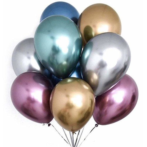 PuTwo Party Balloons Metallic Latex 50 Pcs Chrome Birthday Helium Thick Brilliant Perfect Decoration For Wedding On OnBuy