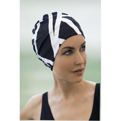 Fashy Ladies Black & White Swim Cap with Silver Jewel Detail