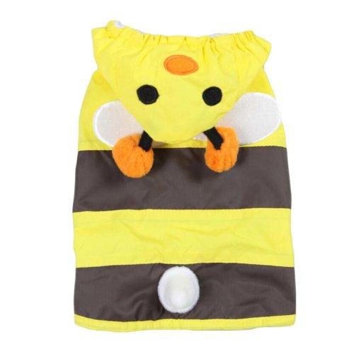 Fashion Littie Bee Puppy Pet Dog Raincoat Pet Gear Rain Jacket YELLOW, M