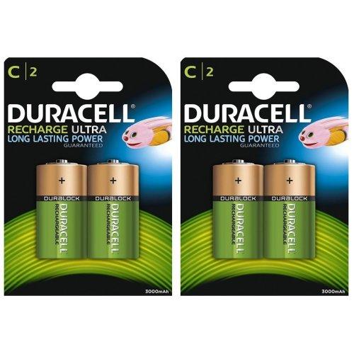 4 x Duracell C Size 3000 mAh Rechargeable Batteries NiMH LR14 HR14 DC1400 ACCU