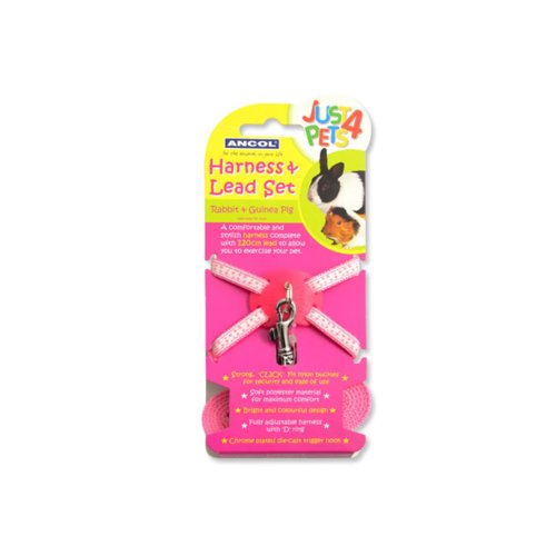 Just 4 Pets Rabbit & Small Animal H'ess&lead Set Pink Polka (Pack of 3)
