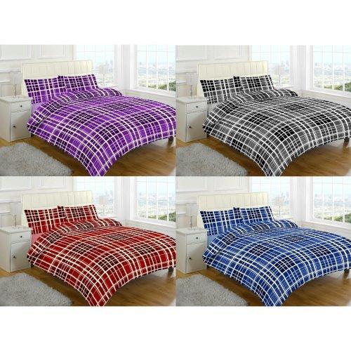 Evan Check Brushed Cotton Flannelette Thermal Duvet Cover Bedding Set