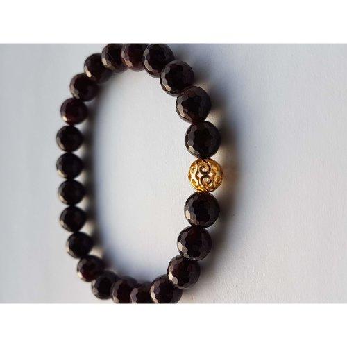Garnet and gold plated sterling silver filigree gemstone bracelet