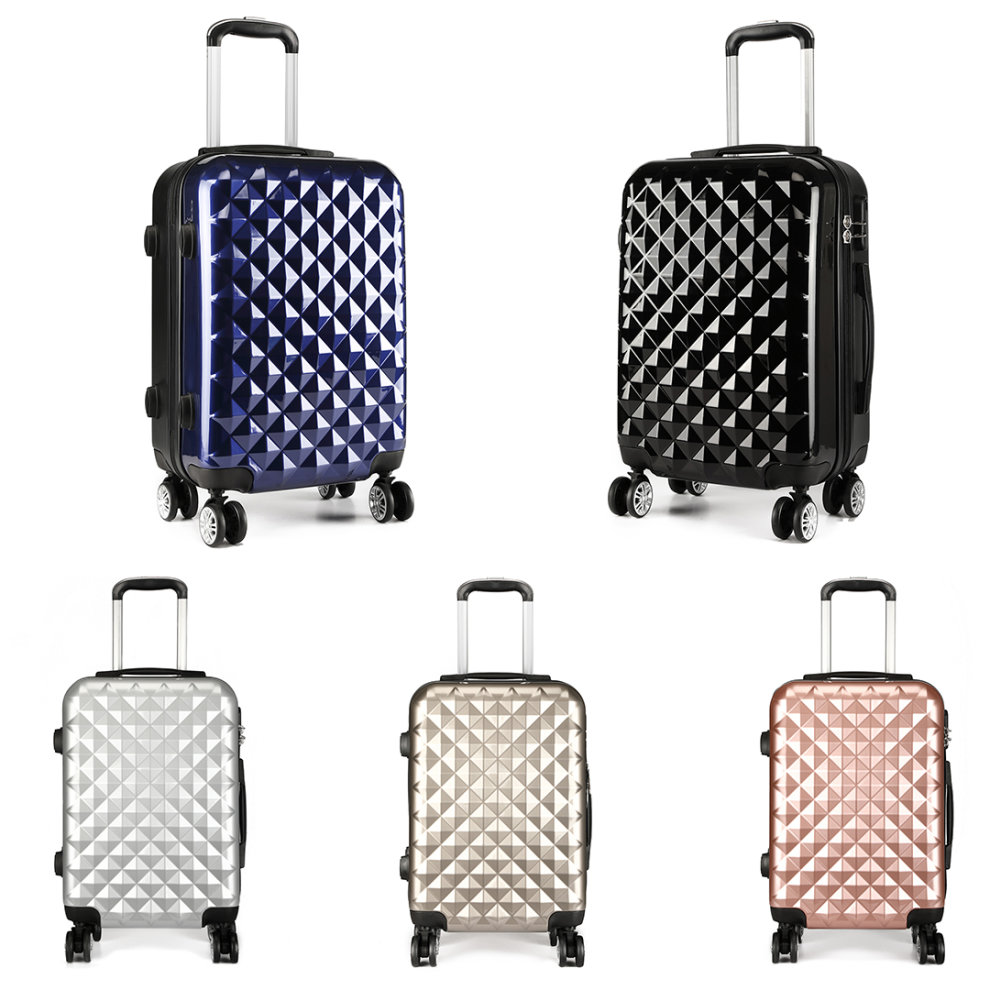 73f1947b0a70 Kono Lightweight Cabin Hand Luggage Travel Carry On Suitcase Trolley Case  Bag Diamond Shape PC + ABS Hard Shell 20