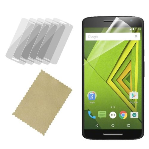 InventCase Screen Protector Guard with Cleaning Cloth (5-Pack) for Motorola Moto X Play 2015