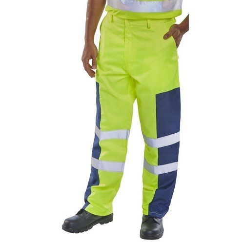 "Click PCTSYNNP28T Yellow and Navy Nylon Patch Trousers 28"" Tall"