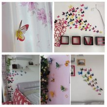 12Pcs 3D Blue Butterfly Art Decals Wall Stickers Home Wedding Party Decoration