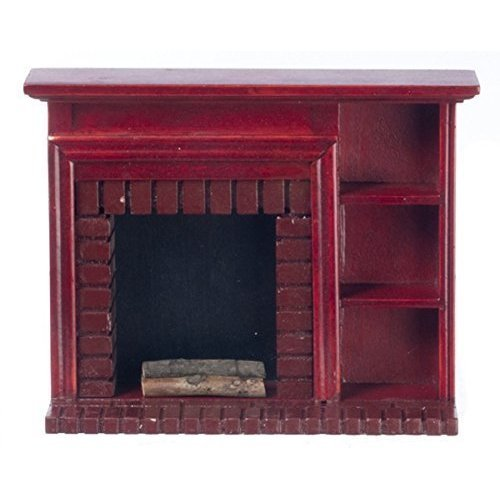 Dollhouse Miniature 1:12 Scale Mahogany Fireplace with Shelves #T3519