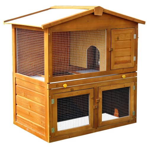 PawHut Small Pet House & Built-In Run | 2-Tier Wooden Hutch & Run