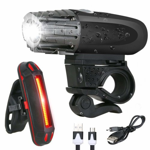 Yuede Bike lights, USB Rechargeable Bicycle Light Set, LED Waterproof Front Headlight and Tail Back Cycling Light