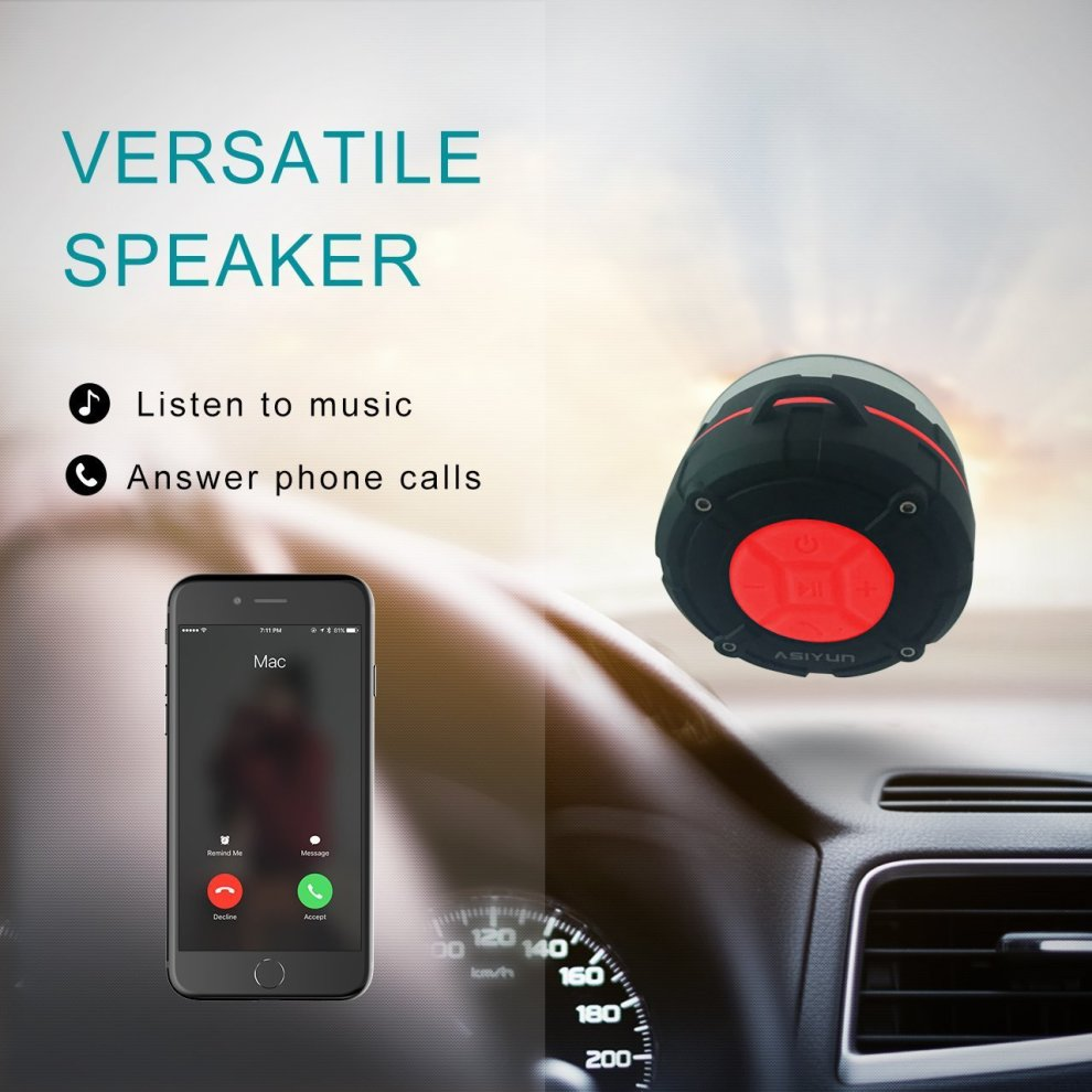 Portable Shower Speaker ASIYUN Waterproof Wireless Speaker with IPX7 HD Sound
