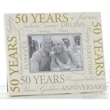 "Golden Wedding 50th Anniversary Script 6"" x 4"" Photo Frame"