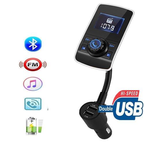FM Transmitter, Wireless Bluetooth ,Car Radio Transmitter, MP3 Player Handsfree Bluetooth Car Kits Radio Audio Adapter with Dual USB 5V 2.1A...