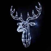 Premier 70cm Acrylic Lit Reindeer Head - White (LV161128W) Christmas Lights