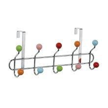 10 Multi-coloured Hooks Over Door Hanger