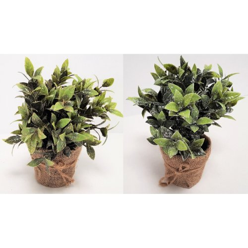 2 Artificial Bay Leaf with Silver/Gold Glitter in Hessian Wrapped Pot Christmas