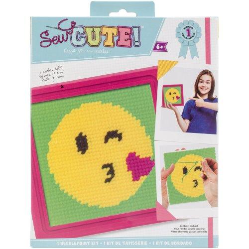 Sew Cute! Needlepoint Kit-Emoji Kiss