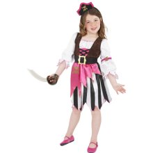Smiffy's Children's Pirate Girl Costume, Dress And Headband, Ages 7-9, Colour: -