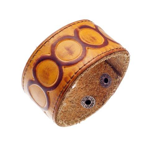 Urban Male Genuine Tan Leather Embossed Cuff Bracelet