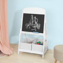 SoBuy® KMB03-W, Children Kids Art Easel Blackboard Chalkboard 2 Storage Boxes