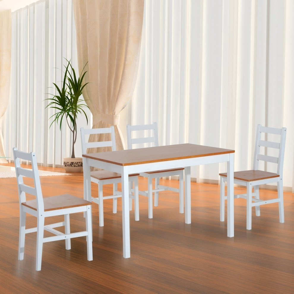 Homcom 5pc Dining Set 1 Table and 4 Chairs Solid Wood ...