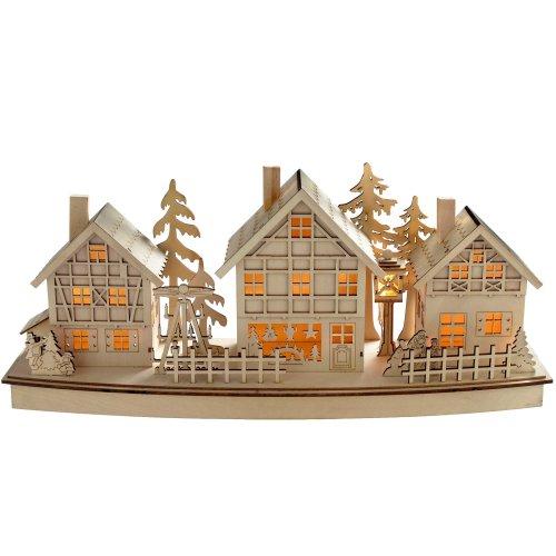 WeRChristmas Pre-Lit Village Scene Christmas Decoration, Wood, 37.5 cm - Multi-Colour