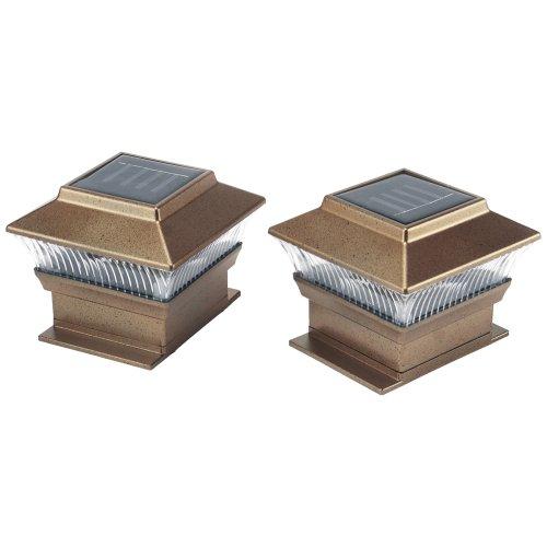 Greenhurst Pack of Two Super Bright Solar Powered LED Universal Garden Fence Post Lights
