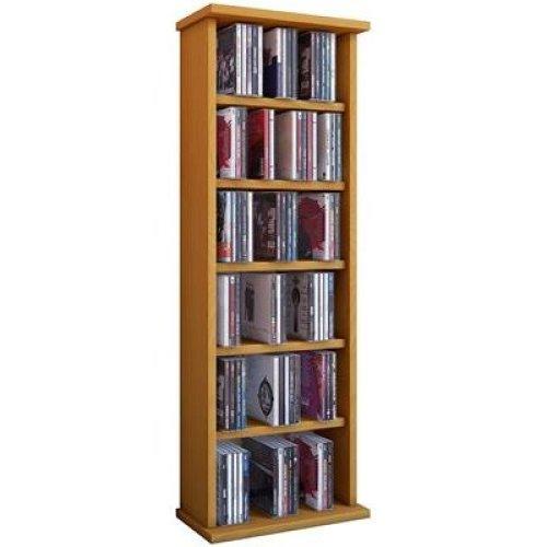 VCM Shelf Shelves Storage Unit Cabinet Bookshelf Bookcase CD DVD Furniture Tower Wood 'Vostan' Beech