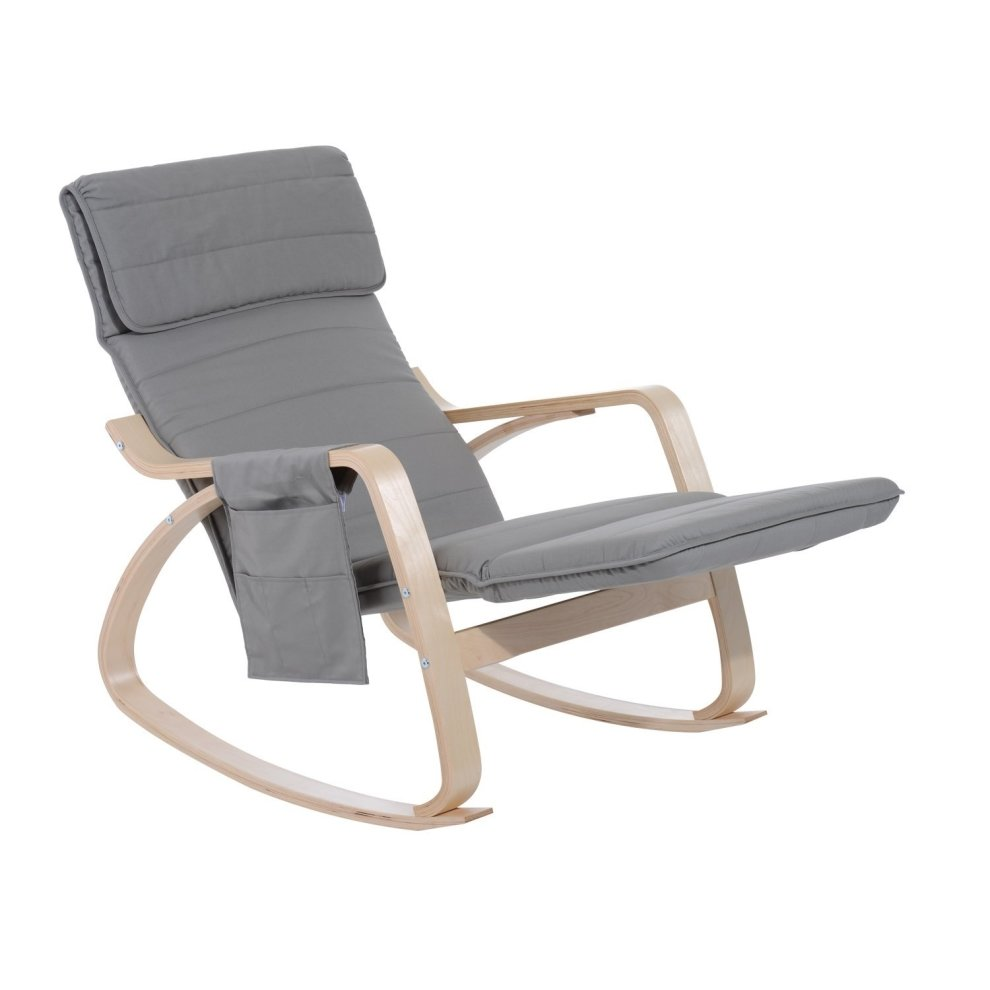 Homcom Wooden Rocking Lounge Chair Recliner Seat With