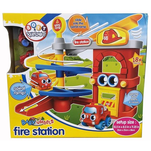 Baby Wheels Toddler Fire Station Parking Garage Soft Play Car Toy