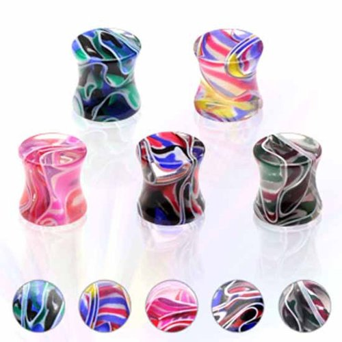 Urban Male Pack of Five Acrylic Multi Colour Marble Effect Ear Stretching Flesh Plugs 3mm