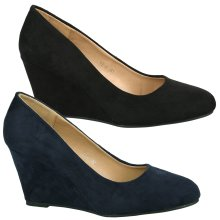 Olivia Womens Mid Wedge Heel Slip On Classic Court Shoes