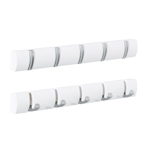 5pc Concealed Coat Hook Board | White Folding Hook Rack