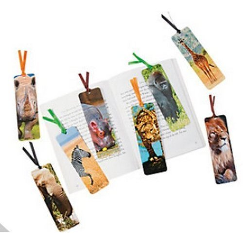 Pack of 12 - Safari Animal Bookmarks with fun facts