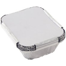Tala 15 x 12 x 5cm Foil Container With Lids, Pack Of 10, Silver - 10cm Lids -  x tala foil 10 15 12 cm container lids pack silver containers set food