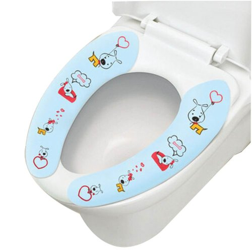 2 Pairs Cute Healthy Sticky Portable Toilet Seat Covers, BLUE DOG, 15.4*3.6''
