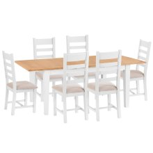 Chester White Painted Oak 1.6m Butterfly Extending Table & 6 Fabric Seat Chairs