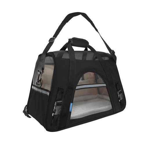 Pet Carrier Soft Sided Travel Bag for Small dogs & cats- Airline Approved, Black